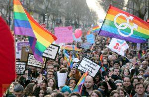 Eine Demonstration für LGBT Rechte in Paris